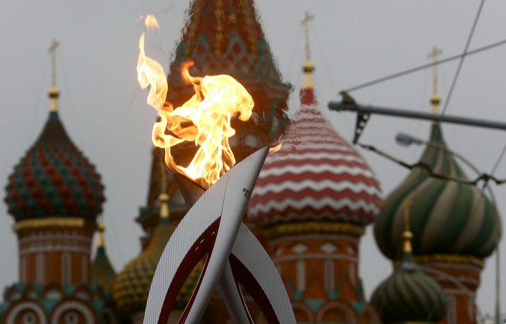 Here's the place where it all began. Olympic torch on Red Square