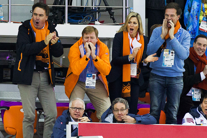 Camiel Eurlings IOC member of Netherlands next to Dutch King Willem Alexander and his wife Maxima, Dutch prime minister Mark Rutte (left to right)