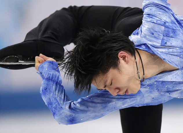 Japanese figure skater Yuzuru Hanyu won first place in men's short program