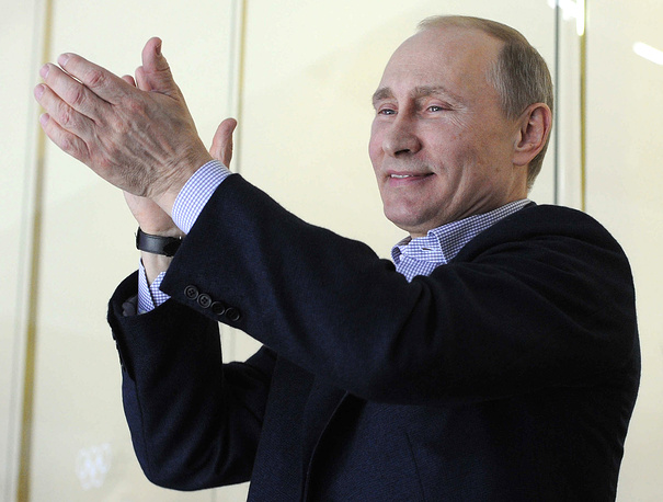Russian President Vladimir Putin watching the match between Russia and the USA