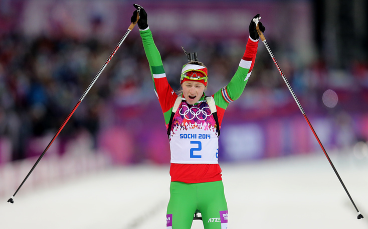 Belorussian biathlete Darya Domracheva won gold in women's 12.5km mass start