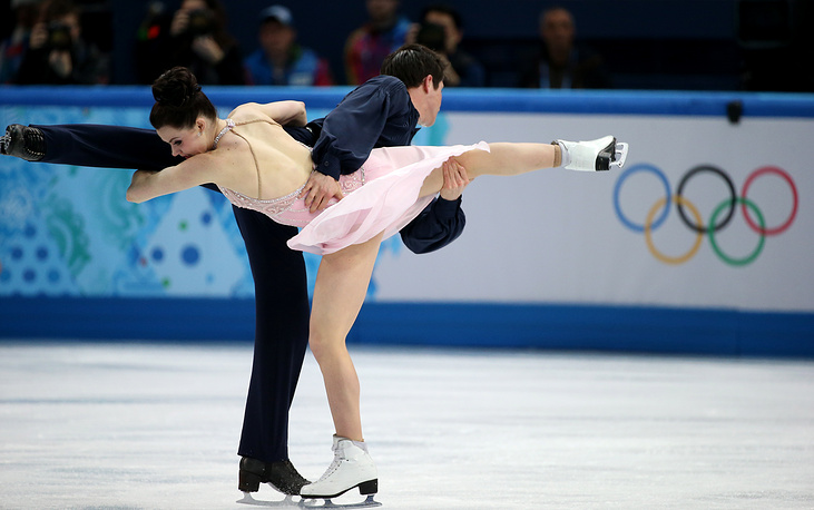 Silver medalists in ice dance Tessa Virtue and Scott Moir of Canada