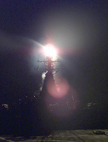 A Tomahawk missile is launched from the deck of the USS Gonzalez warship