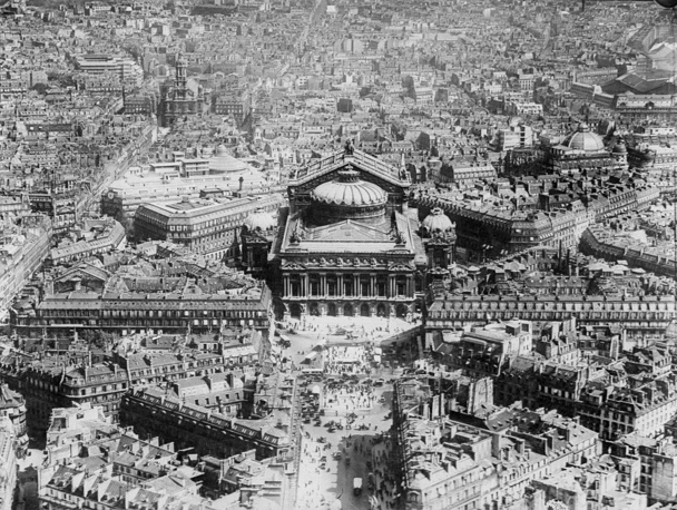 Aerial view of central Paris with the Opera House at center and adjacent streets in 1929