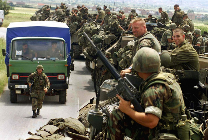 NATO heads the KFOR peace keeping mission in Kosovo, July 14, 1999
