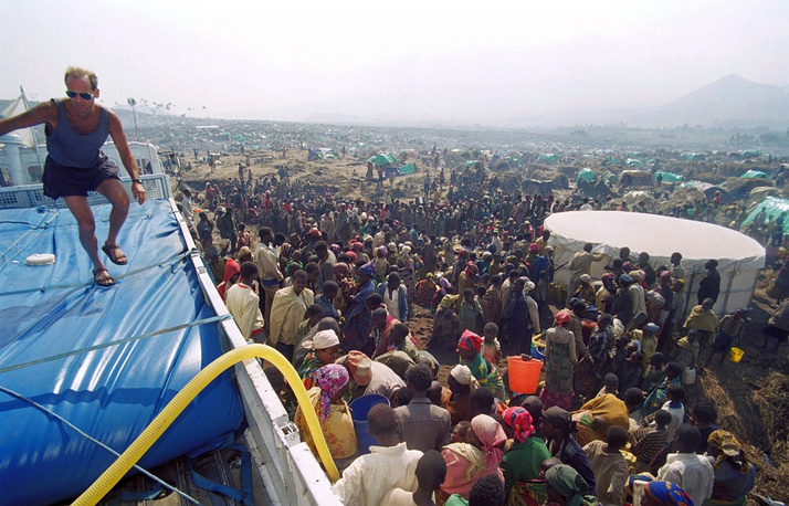 The genocide stopped only in July 1994 when Rwandan Patriotic Front  took control of the situation in the country. Photo: refugee camp in Goma, July 1994