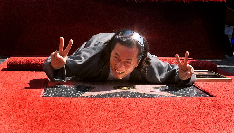 Chan has received stars on the Hollywood Walk of Fame, the Hong Kong Avenue of Stars and Stary Arbat street in Moscow. Photo: Jackie Chan receiving his star on the Walk of Fame in Hollywood