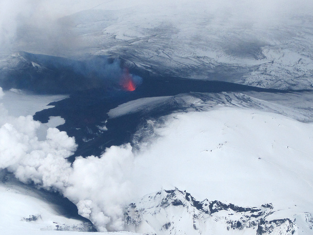 Aerial view of the eruption near the Eyjafjallajoekull glacier