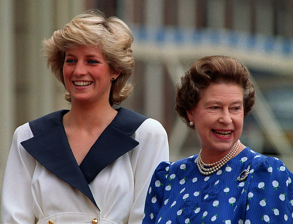 Diana, Princess of Wales, left, and Britain's Queen Elizabeth II outside Clarence House in London, August 4, 1987