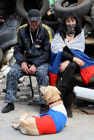 Pro-Russian protesters attend a rally in Donetsk