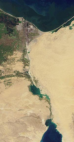 The Suez Canal connects the Mediterranean Sea and the Red Sea. Photo: NASA image of the Suez Canal