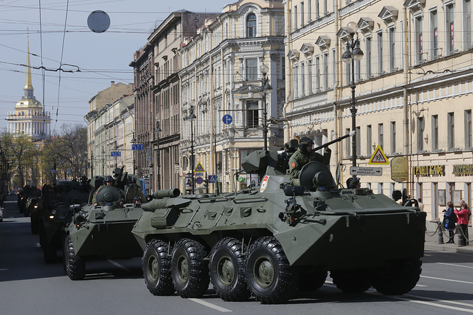 Russian APCs are seen in St. Petersburg