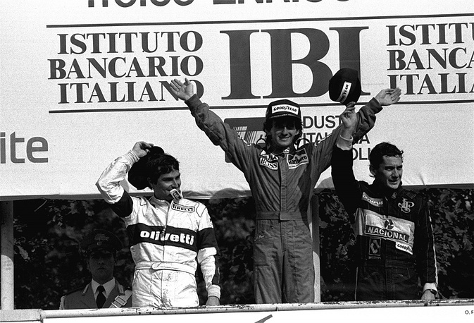 Senna bebutted in Formula One in 1984 for Toleman. Photo: Nelson Piquet, Alain Prost and Ayrton Senna after the Grand Prix of Italy in 1985