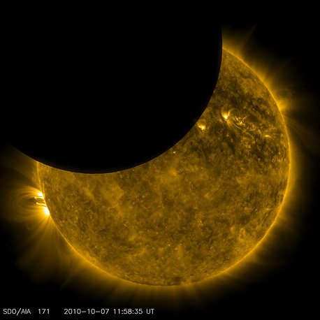 An image of a solar eclipse caught by a NASA telescope in 2010