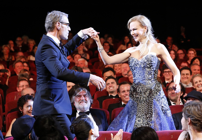 Australian actress Nicole Kidman (R) and Master of Ceremony, French actor Lambert Wilson (L)