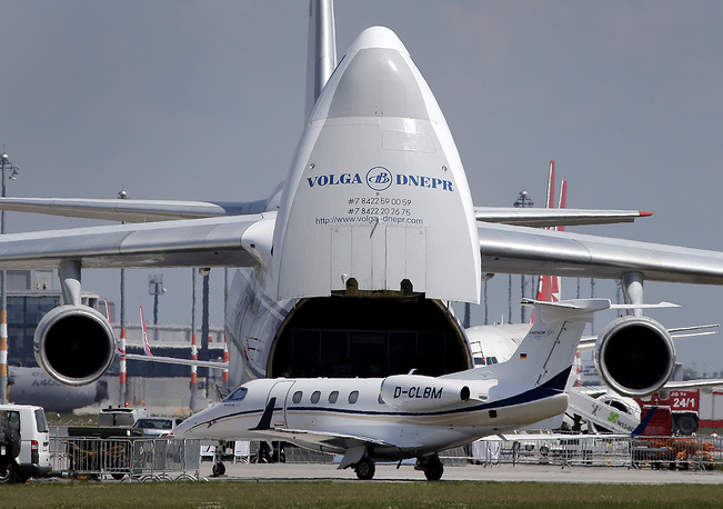 An Antonov A124 airplane with opened fuselage