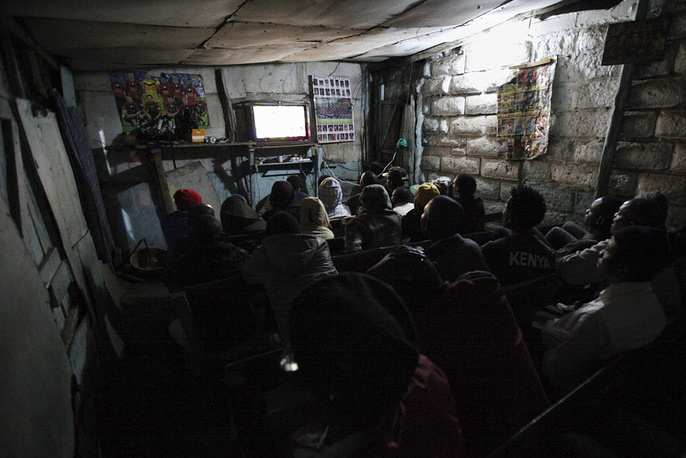 People watch foorball in Kenya's Nairobi
