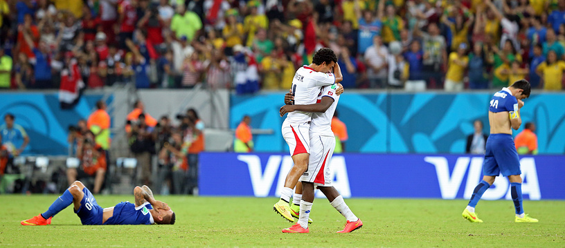 Costa Rica's players celebrate
