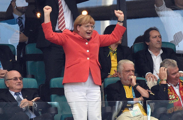 German Chancellor Angela Merkel was one of the first world leaders to come to Brazil. She cheered for Germany in the match against Portugal