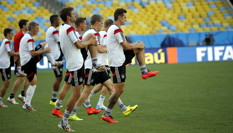 German national soccer team during a training session
