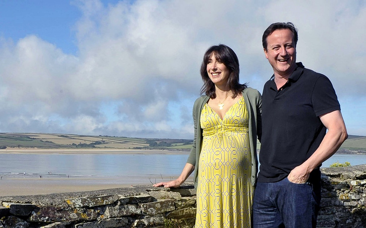 British Prime Minister David Cameron with his wife Samantha in Cornwall, England