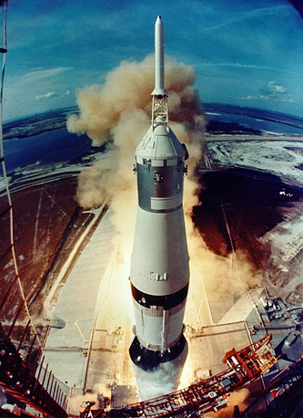 Apollo 11's lift-off at Kennedy Space Center, Florida, USA, 16 July 1969