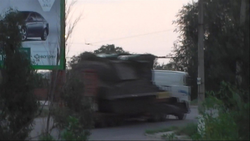 On July 18, Ukraine's Interior Ministry released a video allegedely showing a truck with the Buk missile launcher head towards the Russian border. Photo: a screenshot from the video