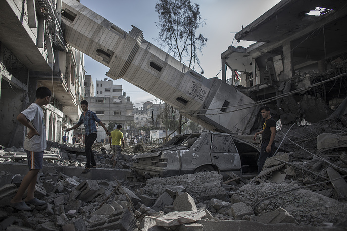 Сollapsed minaret of a destroyed mosque in Gaza City