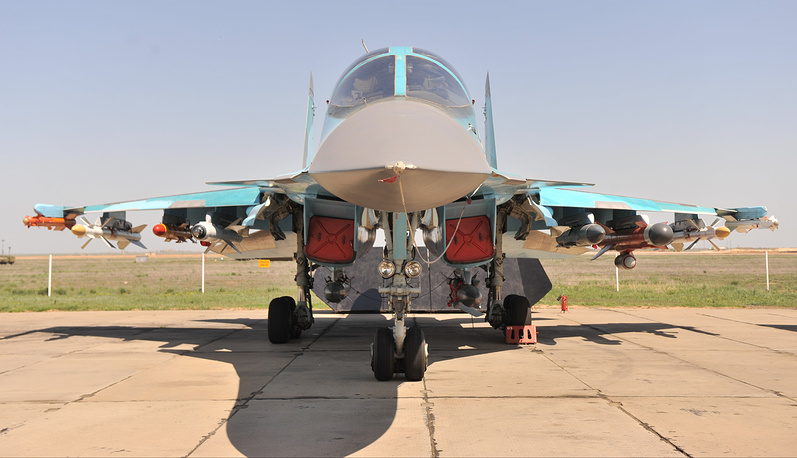 The Sukhoi Su-34 is a twin-seat fighter-bomber intended for high-precision strikes, including strikes with nuclear weapons, on land and sea targets