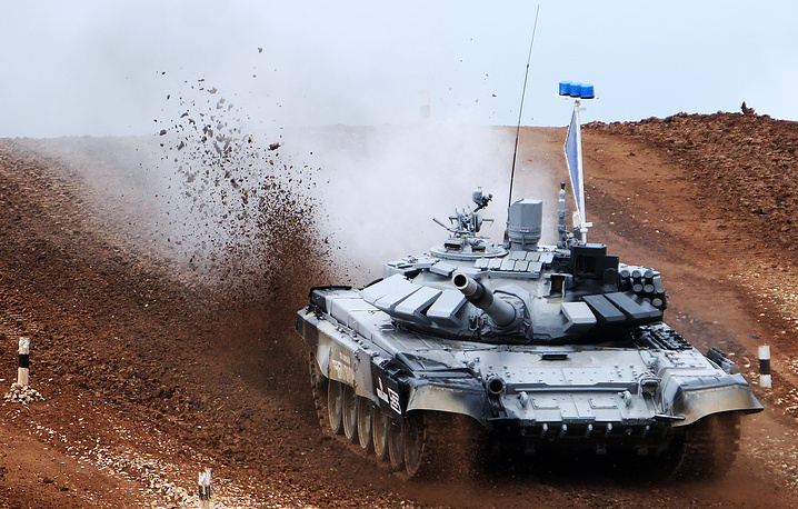 A T-72B tank with a Russian crew