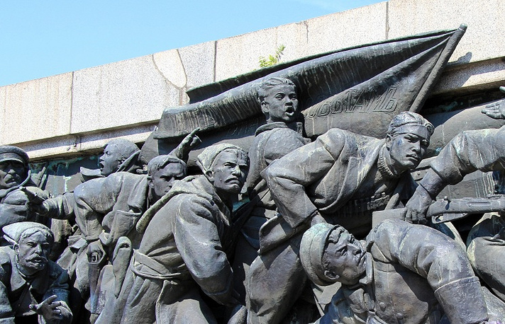 A monument to Soviet liberator soldiers in Bulgaria