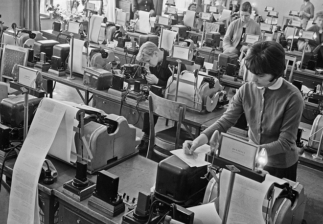 A teletype room in the agency, 1962
