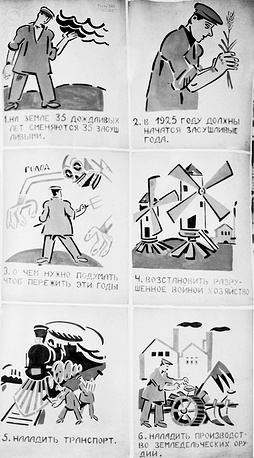 ROSTA posters were displayed in shop windows during the time of famine. Photo: a poster with instructions of how to avoid famine caused by drought