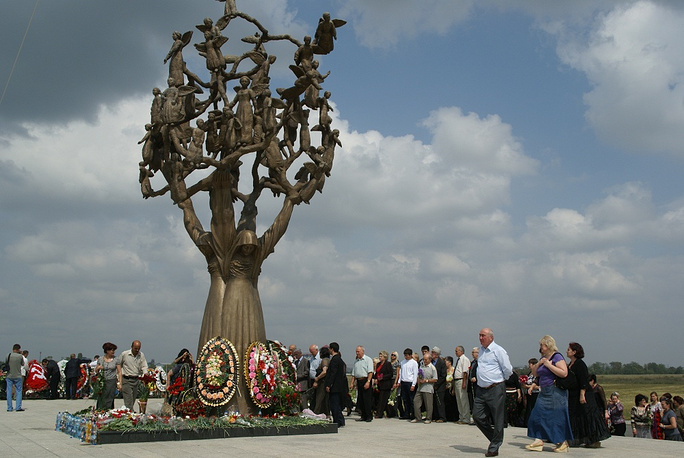The 'Tree of Sorrow' monument at the City of Angels cemetery where most of the victims of the hostage crisis are buried in Beslan