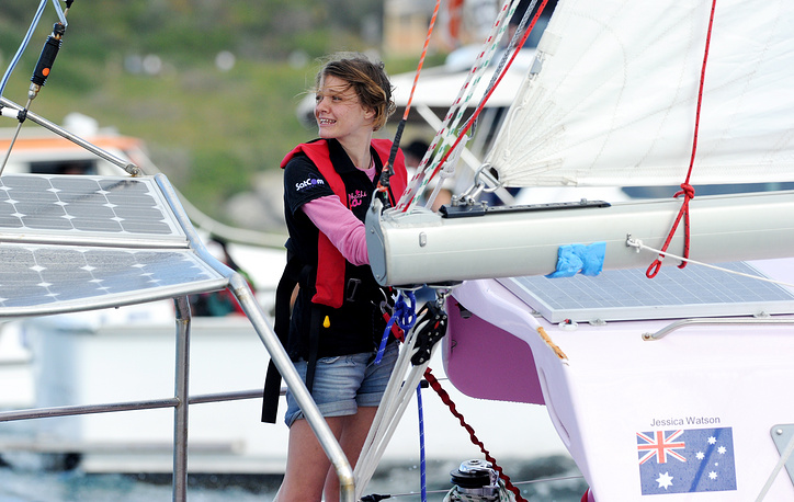 Teen sailor Jessica Watson became the youngest person to sail solo around the world at the age of 16 when she sailed unassisted and non-stop crossing 23,000 nautical miles (about 38,000km) in 210 days