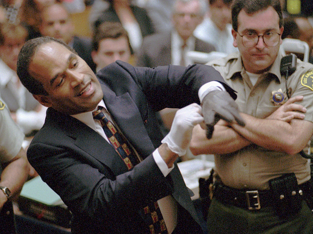 American football player O.J. Simpson was accused but later acquitted of the murder of Nicole Brown Simpson and Ronald Goldman after a lengthy and internationally publicized criminal trial. But in 2008 Simpson was charged with armed robbery and kidnapping and sentenced to 33 years' imprisonment. Photo: O.J. Simpson during the double-murder trial Los Angeles, USA June 15, 1995