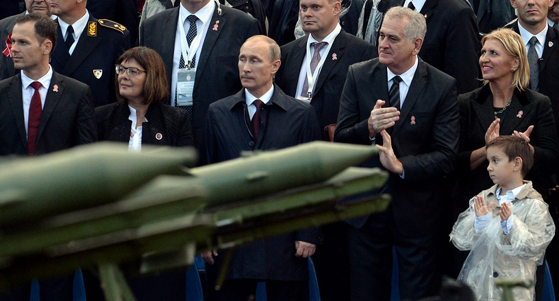 Vladimir Putin and Tomislav Nikolic watch military parade in Belgrade, Serbia, 16 October 2014