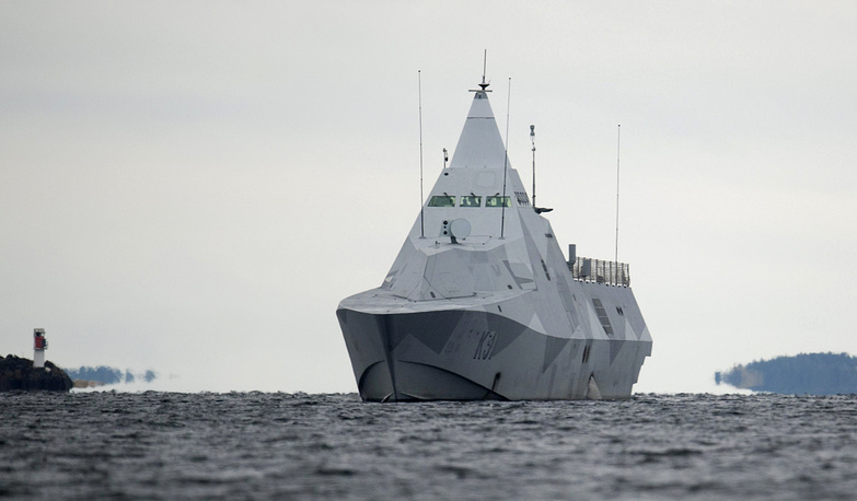 Photo: The Swedish corvette HMS Visby navigates on Mysingen Bay, October 21, 2014