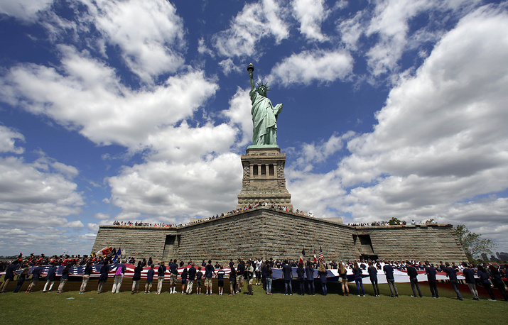 The Statue of Liberty, an iconic symbol of freedom and of the United States was unveiled on Liberty Island in the middle of New York Harbor on October 28, 1886