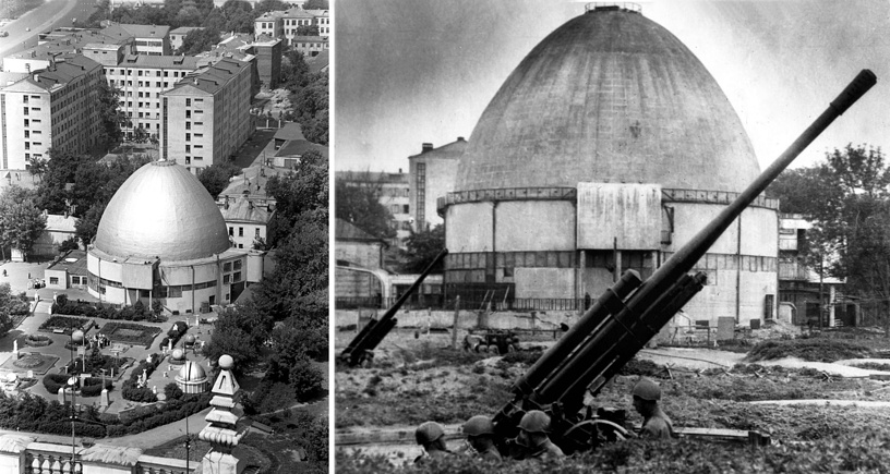 During the World War II, Moscow Planetarium didnt stop working. It hosted lectures, special sessions for secret service agents and military pilots. Photo: An air defense battery near Moscow Planetarium in 1941 (right) and Moscow Planetarium in 1975 (left)