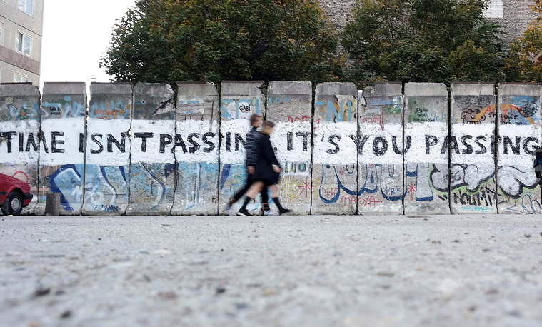Photo: Painted pieces of the former Berlin Wall at the arts zone 'Neu West Berlin' (New West Berlin) in Berlin, Germany