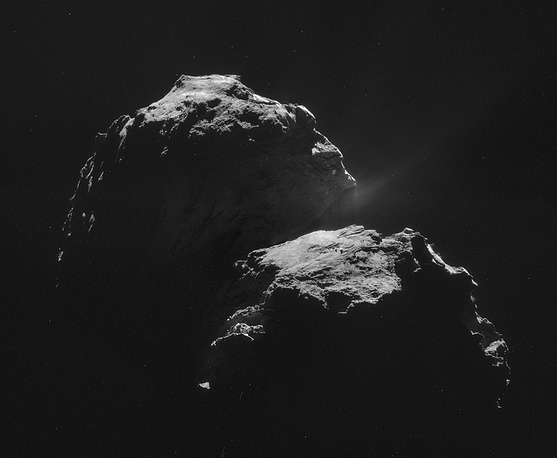 This mosaic comprises four individual NAVCAM images taken from 31.8 km from the centre of Comet 67P/Churyumov-Gerasimenko