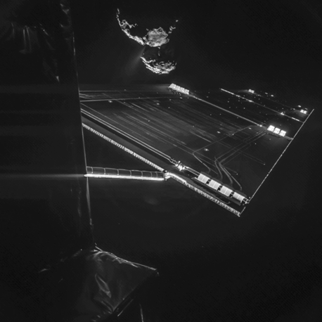 """Rosetta spacecraft's """"selfie"""" with comet 67P/Churyumov–Gerasimenko made from a distance of about 16 km from the surface of the comet"""
