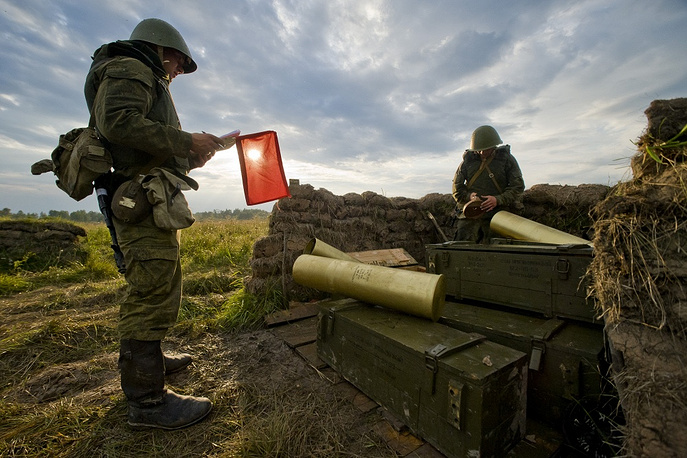 Photo: Artillery Brigade soldiers during a firing exercise on military range Pavenkovo, Kaliningrad region