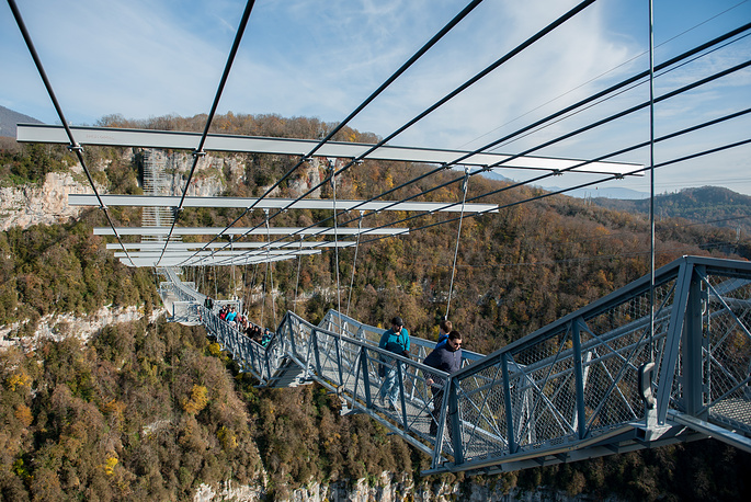 Photo: The world's longest suspension bridge (439 m) over the gorge of the Mzymta River in the resort city of Sochi