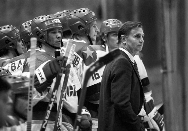 40th ice-hockey championship of the USSR. CSKA senior coach Viktor Tikhonov watching match between CSKA Moscow and Torpedo Gorky, 1985