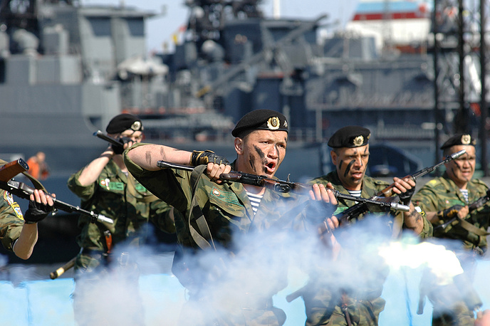 Russian Marines day is marked on November 27. Photo: Russia's Northern Fleet marines take part in a parade to mark the Navy Day
