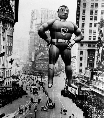 A helium inflated Superman rises over Times Square to lead the Macy's Thanksgiving Day Parade in 1940