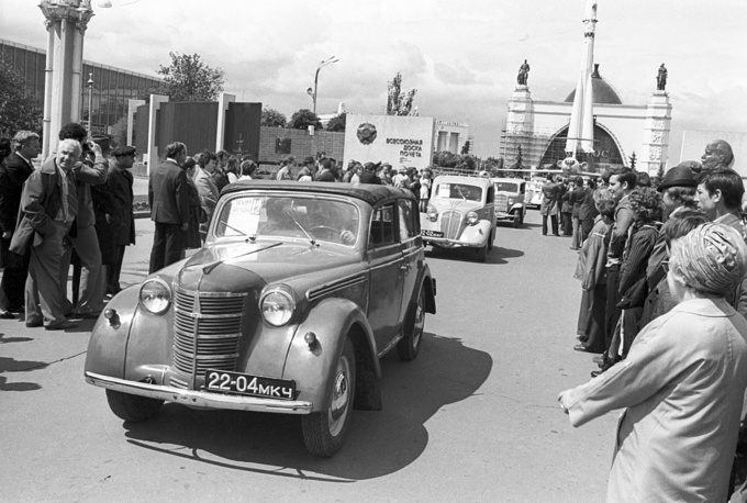 Photo: Retro car show at VDNKh exhibition center, 1976