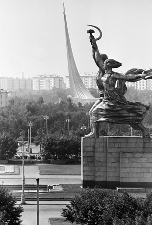 One of the most memorable features of the exhibition site is 25-meter- high statue Worker and Kolkhoz Woman, example of the socialist realistic style